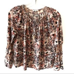 LUCKY BRAND BOHEMIAN STYLE FLORAL LONG SLEEVES TOP